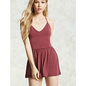 Forever 21 Berry Modal Strappy Romper
